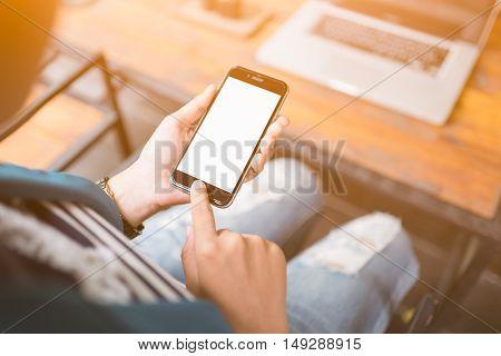 Hand Holding Smartphone White Screen.