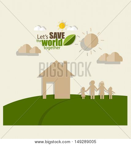 Ecology concept. Paper cut of family and tree on green background. Vector illustration.