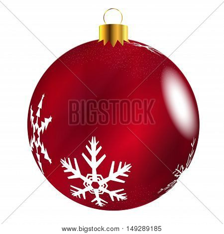 A glossy Red Christmas decoration with snowflake patterns isolatedon a white background.