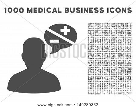 Gray Person Arguments icon with 1000 medical business vector pictograms. Collection style is flat symbols, gray color, white background.