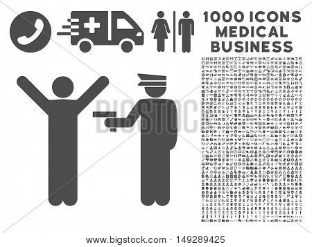 Gray Police Arrest icon with 1000 medical business vector pictographs. Collection style is flat symbols, gray color, white background.