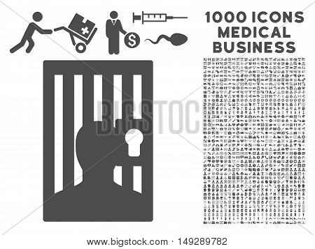 Gray Prison icon with 1000 medical business vector pictograms. Collection style is flat symbols, gray color, white background.