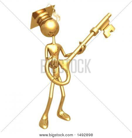 Golden Grad Holding A Key Graduation Concept