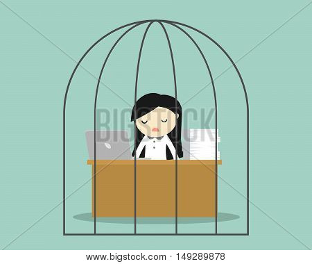 Business concept, Business woman feeling tired and bored while working in the prison. Vector illustration.