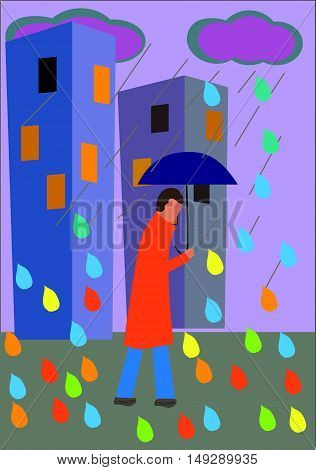 The person going under a umbrella along the street cities maybe скачан for any professional projects