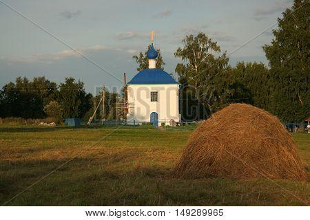 Countryside with russian church, Soldoga, Ivanovo region, Russia