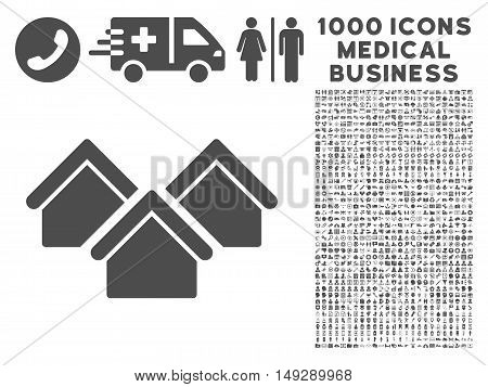 Gray Real Estate icon with 1000 medical business vector design elements. Design style is flat symbols, gray color, white background.