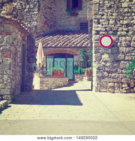 Old Buildings in Italian City of Vertine Instagram Effect
