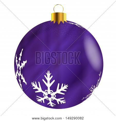 A glossy purple Christmas decoration with snowflake patterns isolatedon a white background.