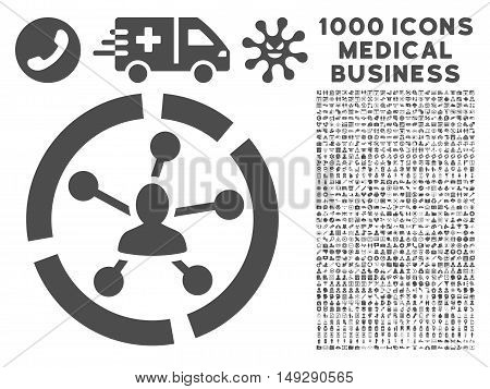 Gray Relations Diagram icon with 1000 medical business vector pictographs. Design style is flat symbols, gray color, white background.