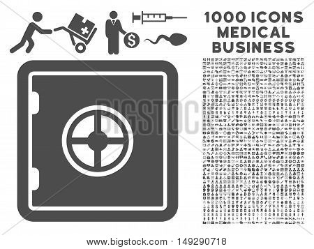 Gray Safe icon with 1000 medical business vector design elements. Set style is flat symbols, gray color, white background.