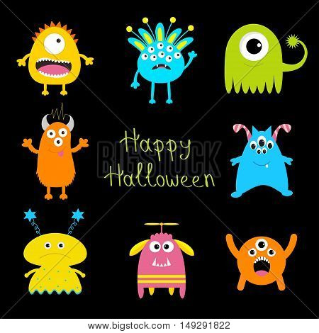 Happy Halloween card. Colorful monster big set. Cute cartoon scary character. Baby collection. Black background. Isolated. Flat design. Vector illustration.