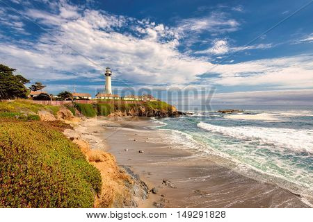 California beach with Lighthouse. Pigeon Point Lighthouse.