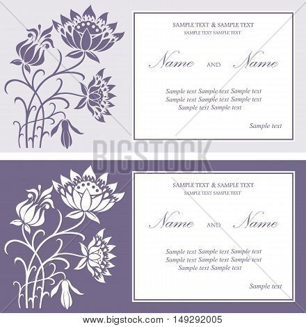 Wedding invitation or greeting floral cards set. Background. Vector illustration