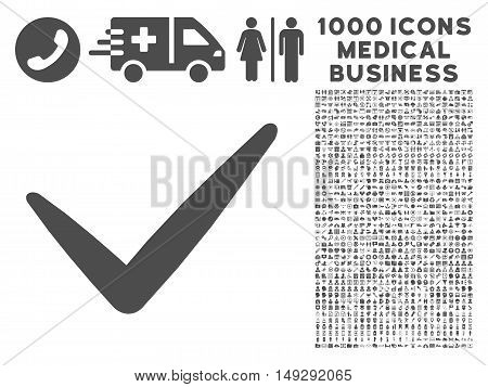 Gray Valid icon with 1000 medical business vector pictographs. Set style is flat symbols, gray color, white background.