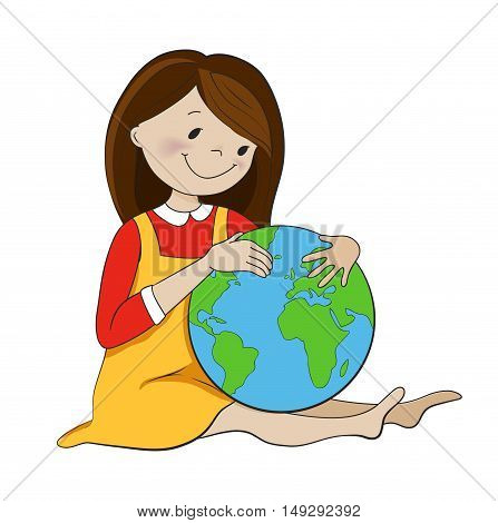 Cute girl hugging globe cartoon vector illustration. Ecology, environment protection, travel, georgraphy concept.