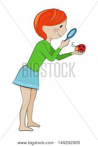 Nature exploration, biology, ecology concept, girl with magnifying glass looking at bug