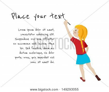 Girl writing on white background, place for your text cartoon vector illustration