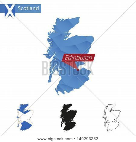 Scotland Blue Low Poly Map With Capital Edinburgh.