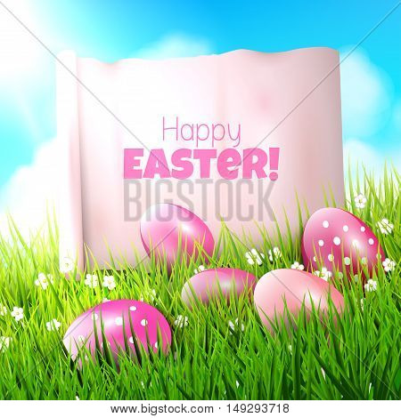 Sweet Easter background with pink eggs in grass and empty paper