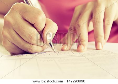 business women working at her desk ,working time
