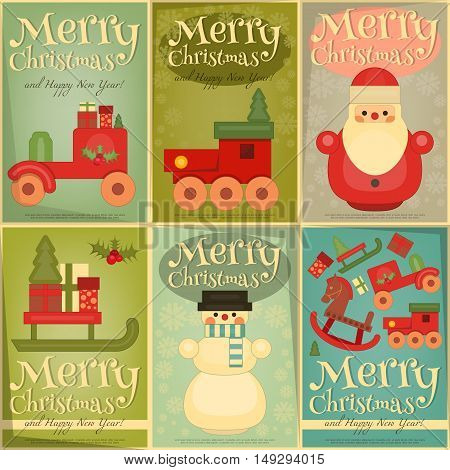 Merry Christmas and Happy New Year Posters Set in Retro Style. Vintage Toys Collection - Wooden Santa Claus Snowman Train. Vector Illustration.