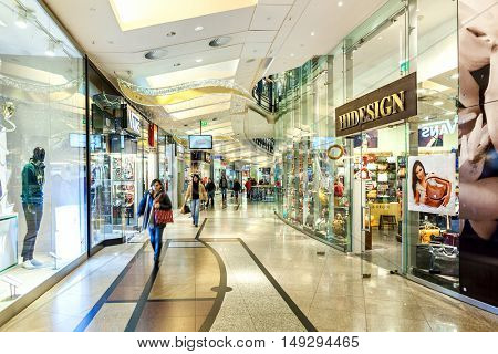 PRAGUE, CZECH REPUBLIC - DECEMBER 10, 2015: Interior of Palladium mall during Christmas holidays - one of the most popular shopping centers in Prague, has 5 floors, 184 shops and 23 restaurants.