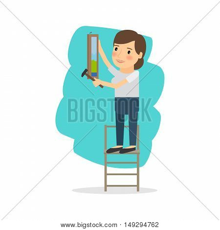 Woman make repairs in the apartment. Vector illustration