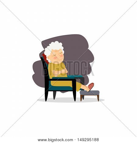 Seniors happy leisure. Grandmother sitting on the chair. Vector illustration
