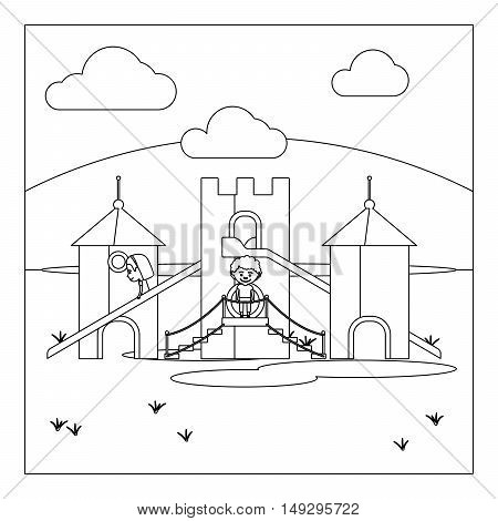 Coloring book page design with kids on playground. Vector illustration