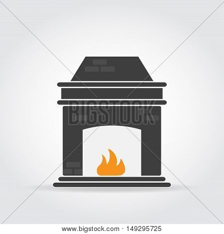 Fireplace black icon with bricks and fire.