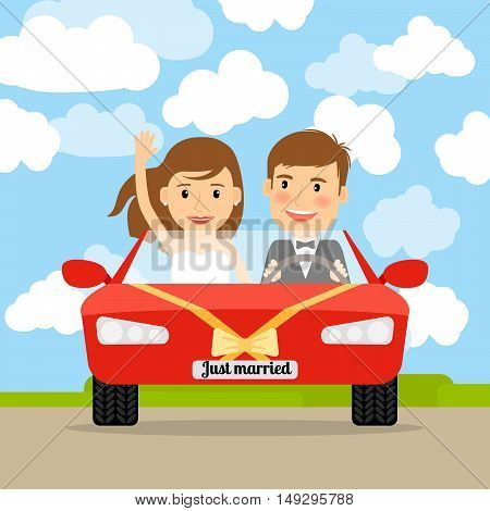 Just married couple in the red car vector illustration