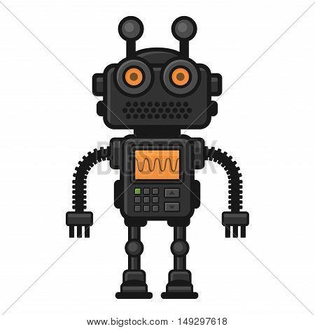 Fictional Robot on White Background. Vector Illustration.