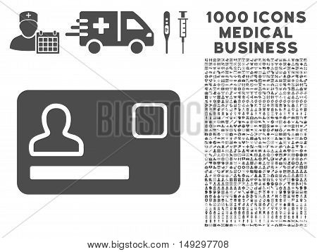 Gray Banking Card icon with 1000 medical business glyph pictograms. Set style is flat symbols, gray color, white background.