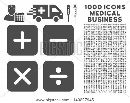 Gray Calculator icon with 1000 medical business glyph design elements. Set style is flat symbols, gray color, white background.