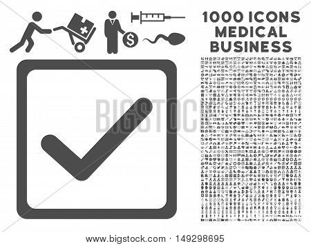 Gray Checkbox icon with 1000 medical business glyph design elements. Design style is flat symbols, gray color, white background.