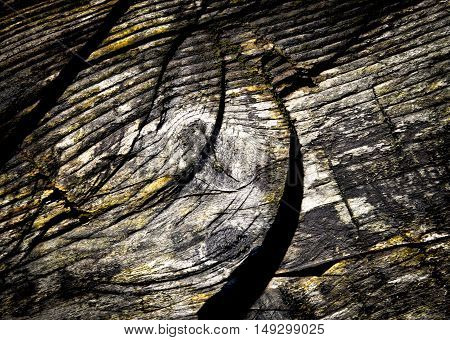Abstract dark background saw an old weathered wooden board