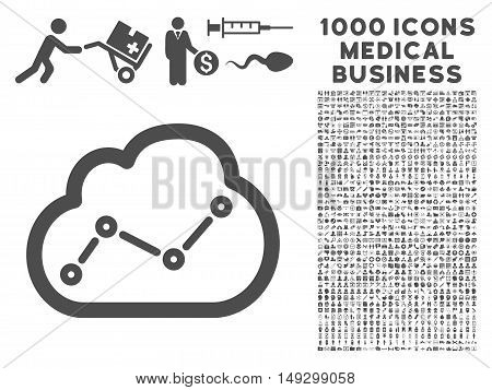 Gray Cloud Trend icon with 1000 medical business glyph pictograms. Collection style is flat symbols, gray color, white background.