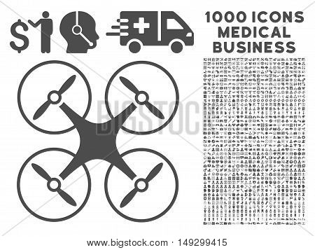 Gray Copter icon with 1000 medical business glyph pictographs. Design style is flat symbols, gray color, white background.