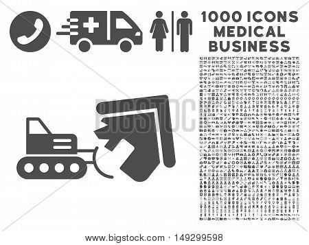 Gray Demolition icon with 1000 medical business glyph pictograms. Design style is flat symbols, gray color, white background.