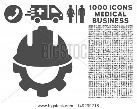 Gray Development icon with 1000 medical business glyph design elements. Collection style is flat symbols, gray color, white background.