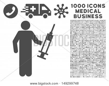 Gray Drug Dealer icon with 1000 medical business glyph design elements. Set style is flat symbols, gray color, white background.