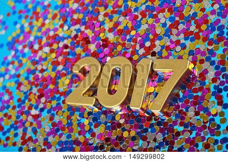 2017 Year Golden Figures And Varicolored Confetti