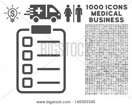 Gray Examination icon with 1000 medical business glyph design elements. Collection style is flat symbols, gray color, white background.