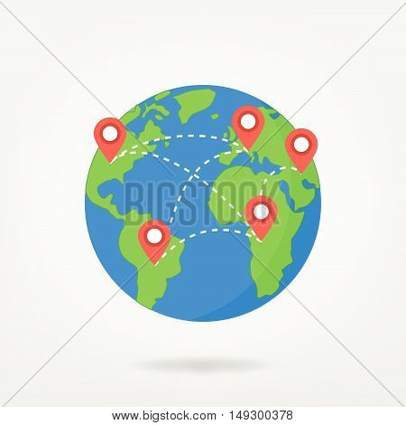 Globe, World Map With Locaction Pin Points Illustration