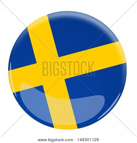 Illustration of a glossy button with the flag of Sweden