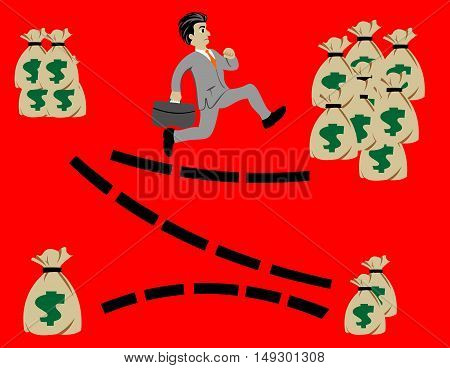 business man run to get target for success illustration