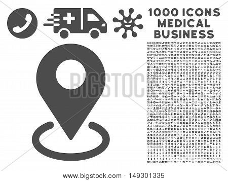 Gray Geo Targeting icon with 1000 medical business glyph pictograms. Collection style is flat symbols, gray color, white background.