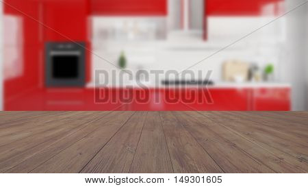 Wood surface with Kitchen interior in background (3D Rendering)