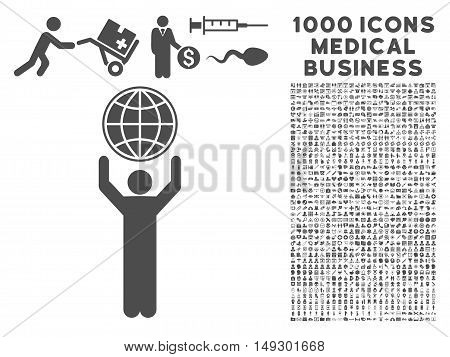 Gray Globalist icon with 1000 medical business glyph pictograms. Design style is flat symbols, gray color, white background.